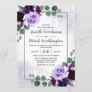Elegant Airy Boho Floral Purple and Silver Wedding Invitations