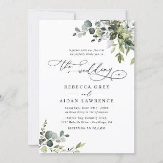 Elegant All In One Watercolor Greenery Wedding Invitations