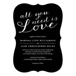 Elegant All You Need Is Love Black Wedding Invitations