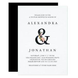 Elegant Ampersand | Black and White Couples Shower Invitation
