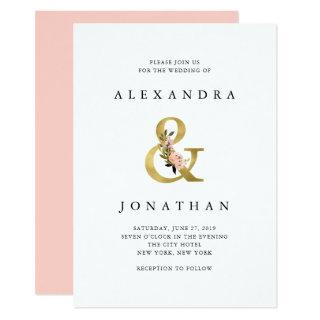 Elegant Ampersand | Gold and Blush Wedding Invitation