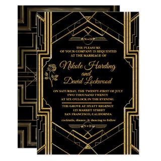 Elegant Art Deco Gatsby Wedding Invitation