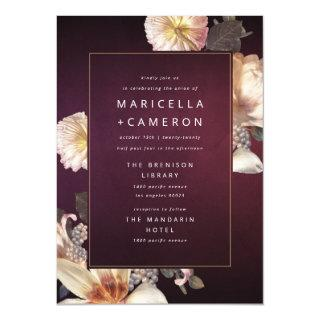 Elegant Autumn Floral Cream Rust Plum Wedding II Invitation