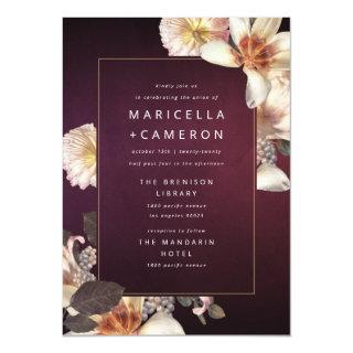 Elegant Autumn Floral Cream Rust Plum Wedding Invitation