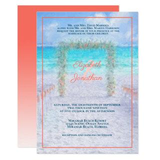 Elegant Beach Arbor Blue Coral Ombre Wedding Invitations