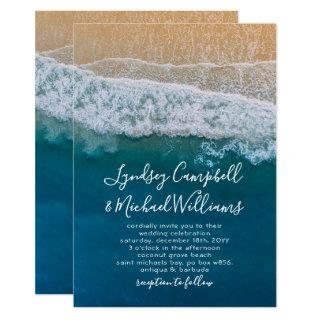 Elegant Beach Blue Ocean Wedding Invitations