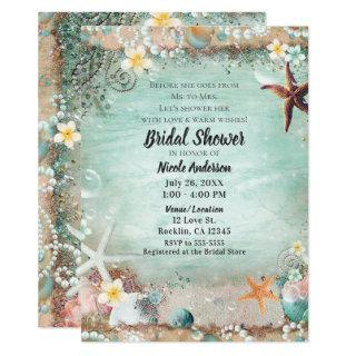 Elegant Beach Sea Starfish & Pearls Bridal Shower Invitations