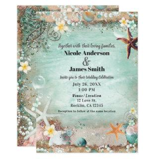 Elegant Beach Sea Starfish & Pearls Wedding Photo Invitations