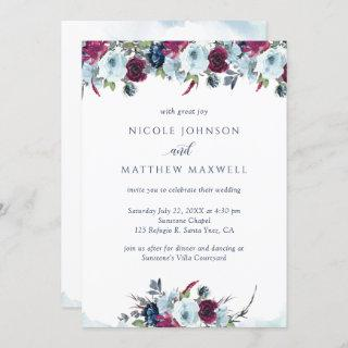 Elegant Berry, Burgundy and Blue Blooms Wedding Invitation