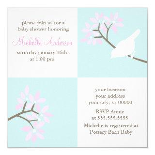 Elegant Birds Baby Shower Invitations
