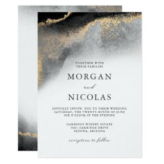 Elegant Black and Gold Marbled Opulence Wedding Invitation