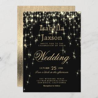 Elegant Black and Gold Starlights Wedding Invitations