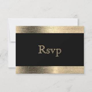 Elegant Black and Gold Starlights Wedding - RSVP