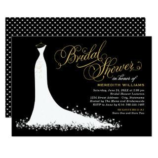 Elegant Black and Gold Wedding Gown Bridal Shower Invitations