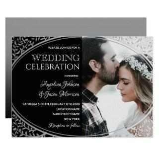 Elegant Black and Silver Floral Lace Wedding Photo Invitation