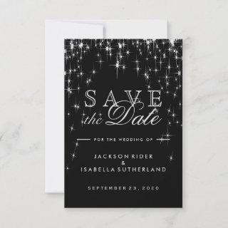 Elegant Black and Silver Starlight - Save the Date