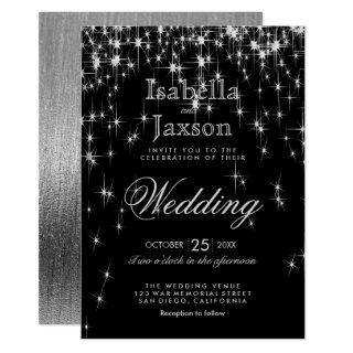 Elegant Black and Silver Starlights Wedding Invitations