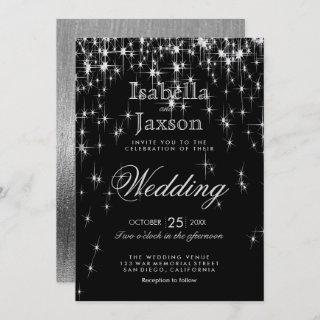 Elegant Black and Silver Starlights Wedding Invitation