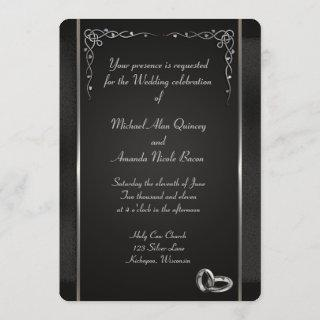 Elegant Black and Silver Wedding Invitations
