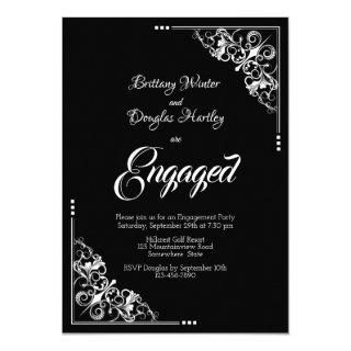 Elegant Black and White Engagement Party Invitations