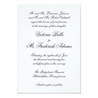 Elegant Black and White Formal Calligraphy Wedding Invitation
