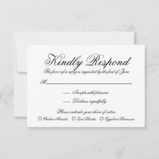 Elegant Black and White Formal Meal Choice Wedding RSVP Card