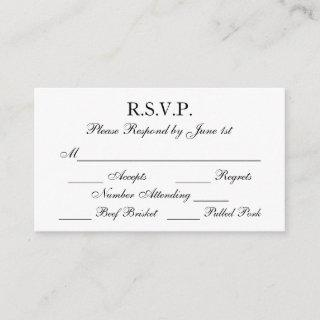 Elegant Black and White Formal Wedding RSVP Cards