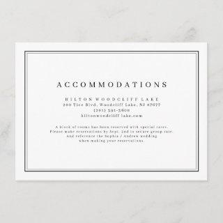 Elegant black and white minimalist accommodations enclosure card