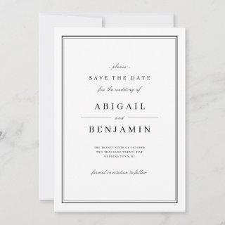 Elegant black and white minimalist save the date