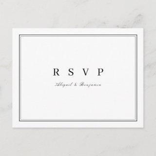 Elegant black and white minimalist wedding RSVP Invitations Postcard