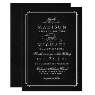 Elegant Black and White Modern Wedding Invitations
