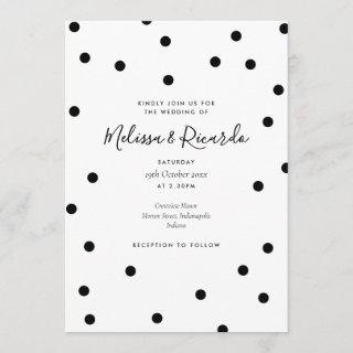 Elegant Black and White Polka Dots Wedding Invitation