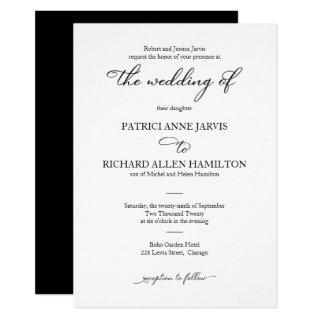 Elegant Black And White Script Classic Wedding Invitations
