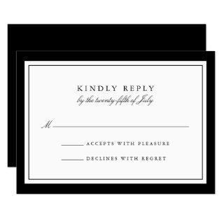 Elegant Black and White Simple Border Wedding RSVP