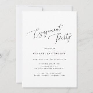 Elegant Black and White Simple Engagement Party