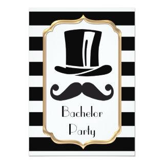 Elegant Black and White Stripe Bachelor Party Invitations