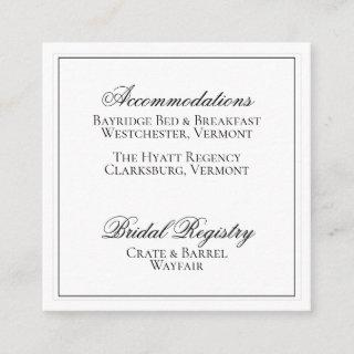 Elegant Black and White Wedding Details Card