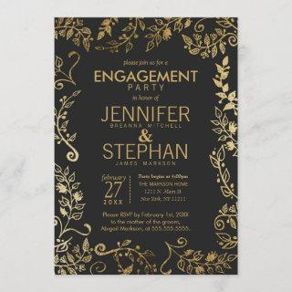 Elegant Black and Yellow Gold Floral Engagement