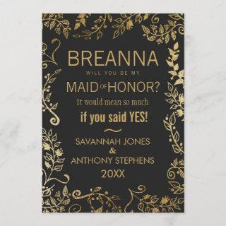 Elegant Black and Yellow Gold Floral Maid of Honor