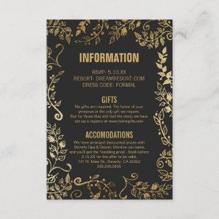 Elegant Black and Yellow Gold Floral Wedding Info Enclosure Card