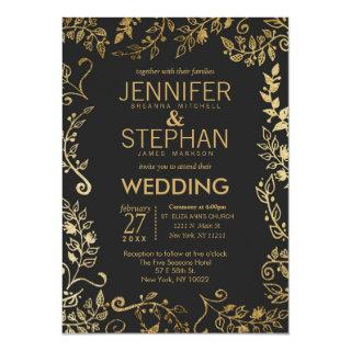 Elegant Black and Yellow Gold Floral Wedding Invitations