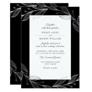 Elegant Black Botanical Silver Leaves Wedding Invitations