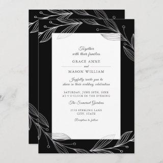 Elegant Black Botanical Silver Leaves Wedding Invitation