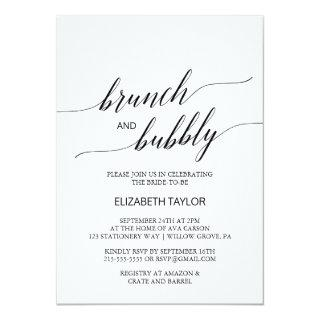 Elegant Black Calligraphy Brunch and Bubbly Invitations