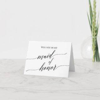 Elegant Black Calligraphy Maid of Honor Proposal Card