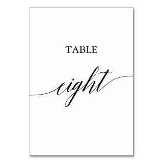 Elegant Black Calligraphy Table Eight Table Number