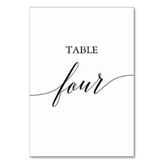 Elegant Black Calligraphy Table Four Table Number