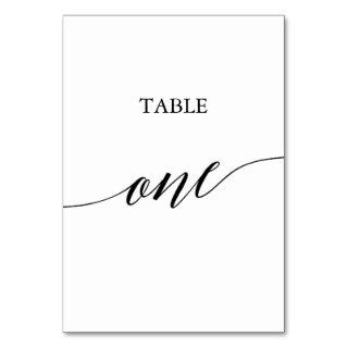 Elegant Black Calligraphy Table One Table Number