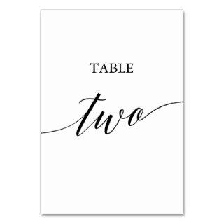 Elegant Black Calligraphy Table Two Table Number