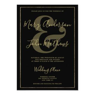 Elegant Black Gold Ampersand Luxury Border Wedding Invitation